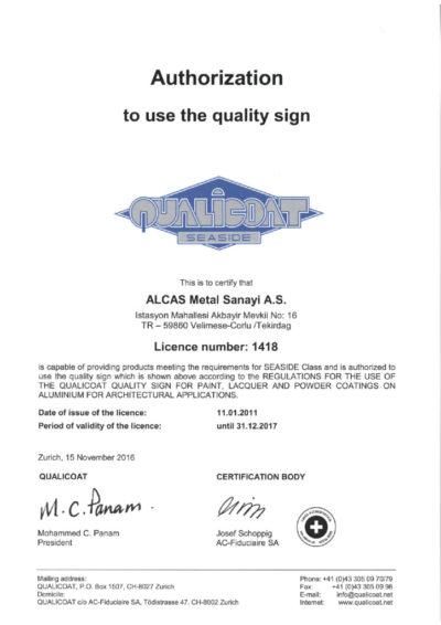 thumbnail of Qualicoat Seaside 2017 Alcas Metal